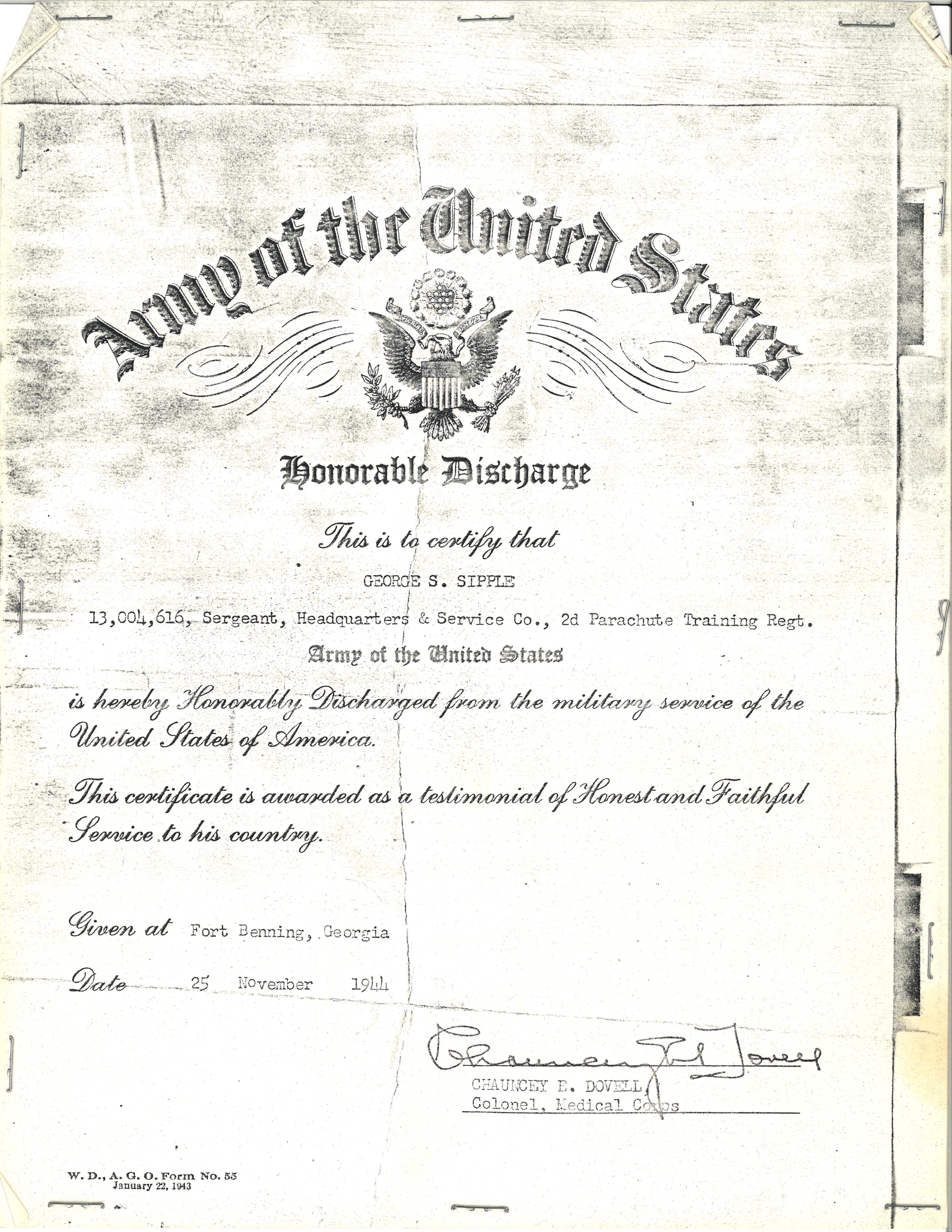 George Sipple's Discharge 1944