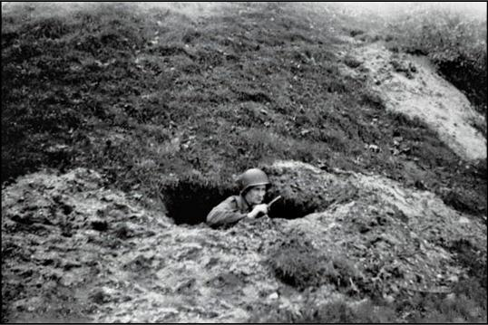 Brad's foxhole in Holland 1944.