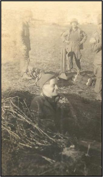 Private Charlie Johnson in foxhole. Sicily 1943