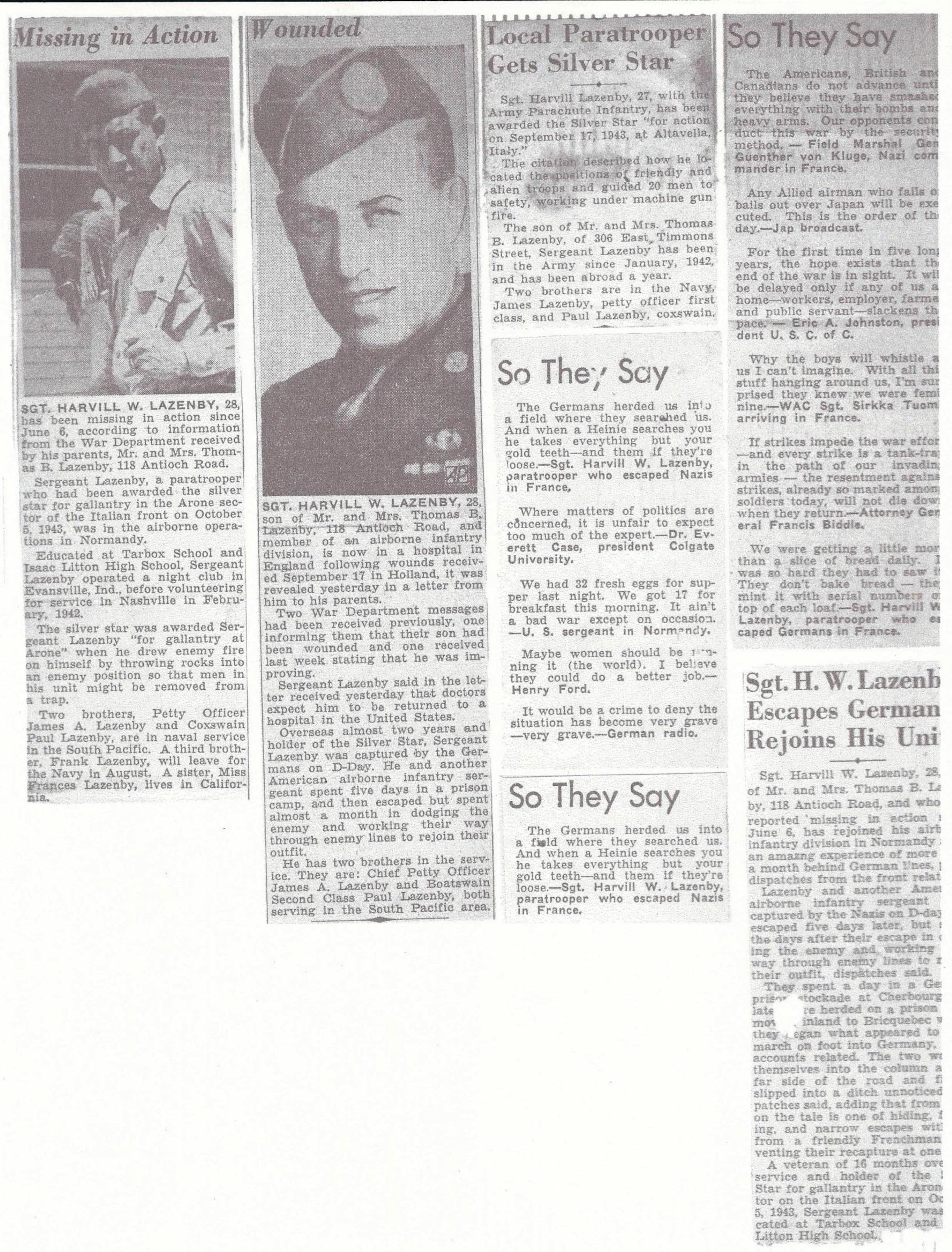 Sgt. Lazenby news clippings