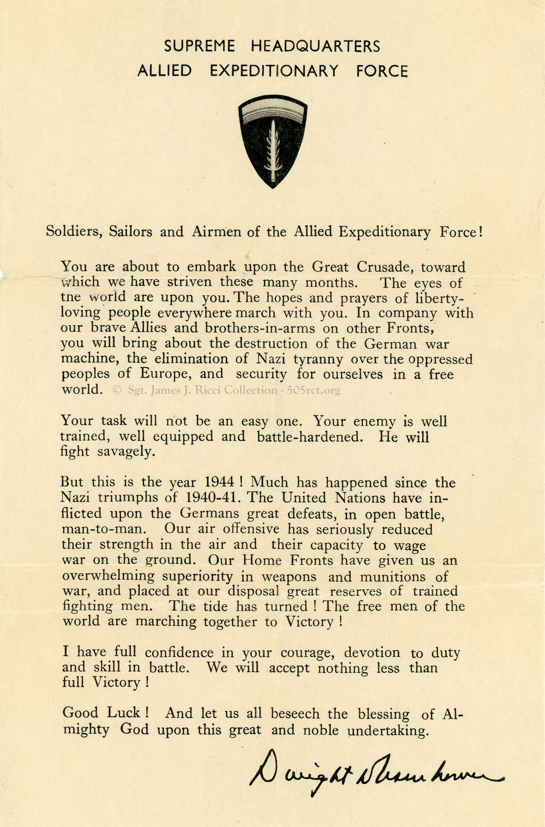 Allied Expeditionary Force Letter