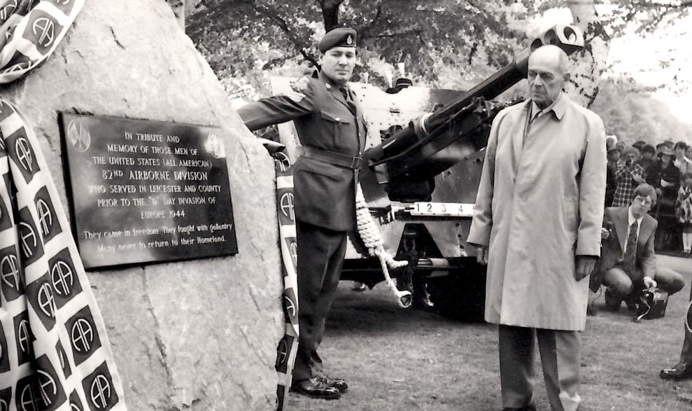 Harold Luken visits the monument dedicated to the 82nd Airborne Division in Leicester, England.