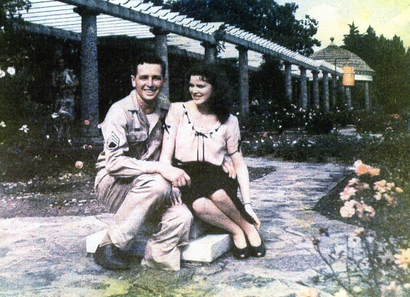 S/Sgt. Bill Blank and his fiance at Walter Reed Hospital in late 1945
