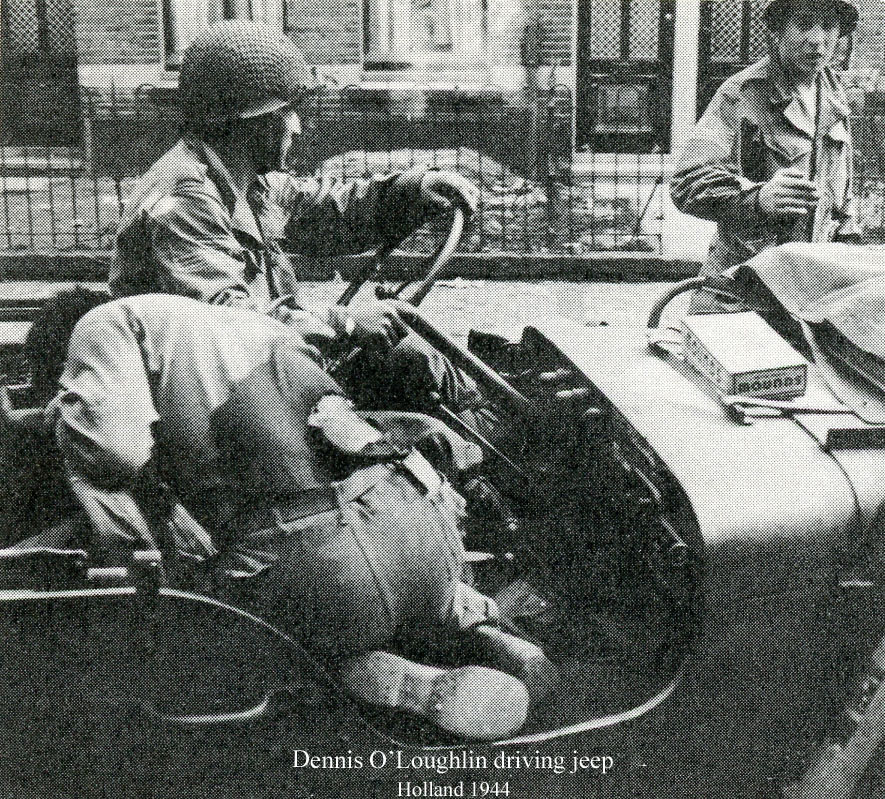 Dennis O'Loughlin driving Staff Sergeant Herbert J. Buffalo Boy of D Company to the aide station.